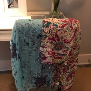 Two Woven Delicate Beautiful Patterned Scarves